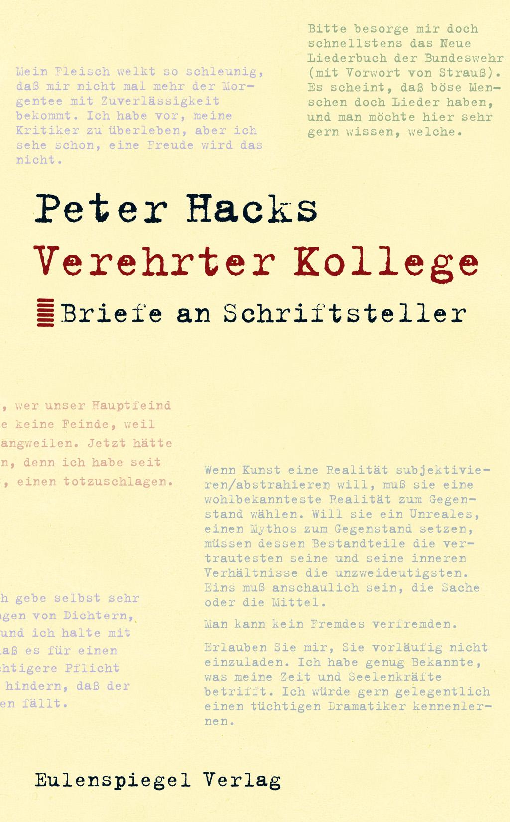 Verehrter Kollege Eulenspiegel Verlag Eulenspiegel Verlagsgruppe